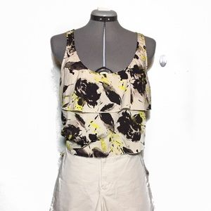 Old Navy Brown Tan Yellow Floral Ruffle Blouse M